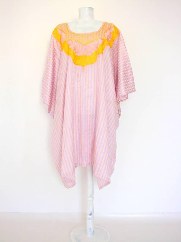 Bluza Orientala Dama Roz Broderie Galbena Foarte Larga Comoda Marime Universala