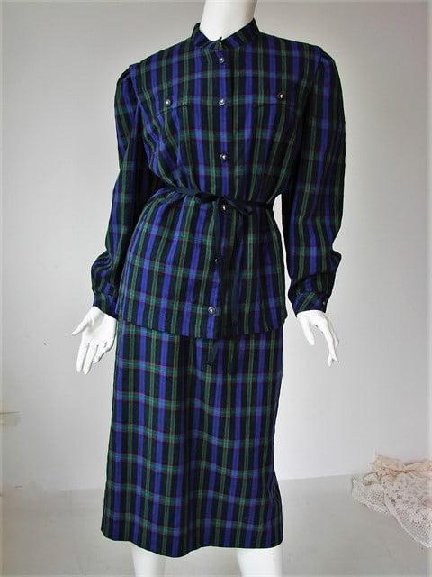 costum vintage dama anii 90 stofa lana carouri