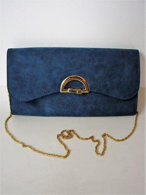 geanta vintage albastra feronerie aurie