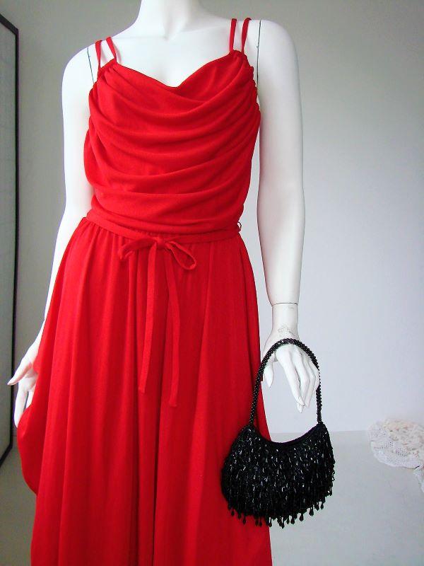 Rochie vintage rosie lunga bretele cordon drapata stil grecesc