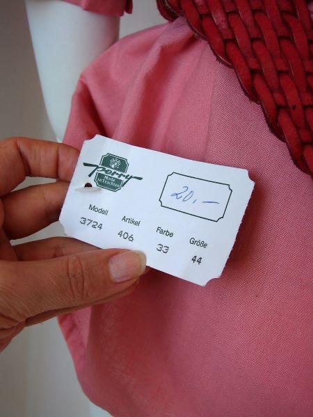 Bluza vintage panza bumbac roz broderie sparta maneca scurta creata la umeri