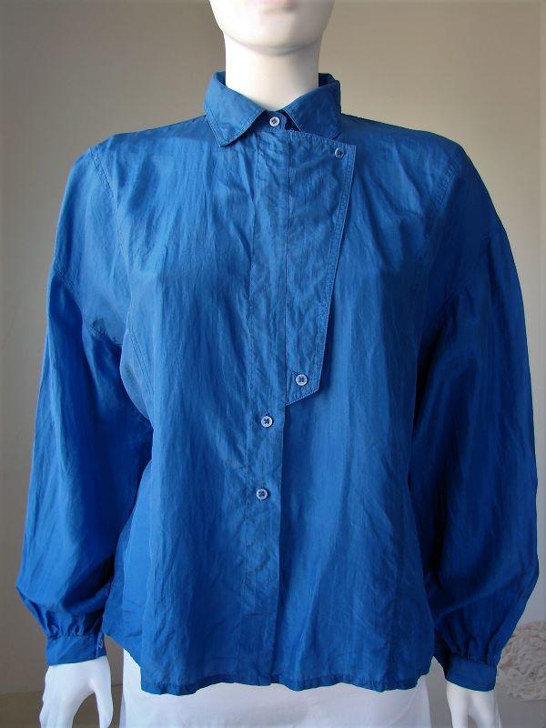 Camasa vintage dama albastra matase vintage anii 80