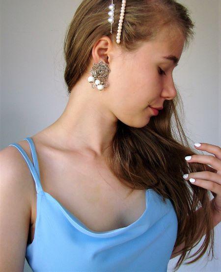 Rochie lunga voal bleu pe corp cu bretele despicata pe laterale second hand anii 2000