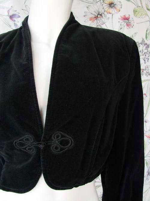 Bolero vintage negru catifea