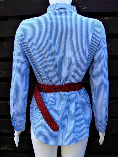 Camasa dama second hand bleu dungulite broderie trandafir maneca lunga
