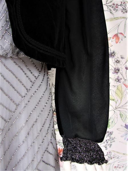 Bolero negru catifea maneca lunga voal mansete sclipici argintiu