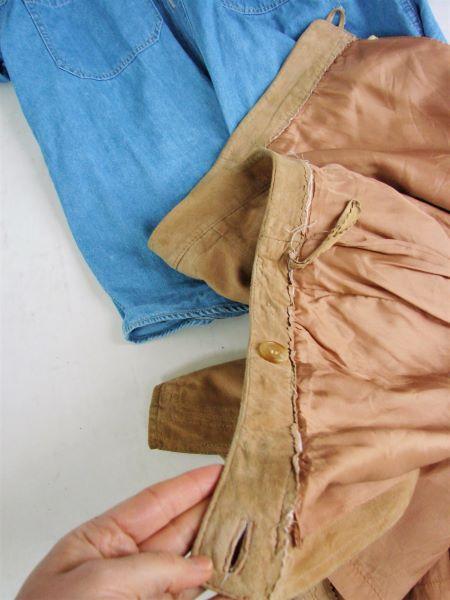 Fusta vintage piele caprioara crem scurta petrecuta