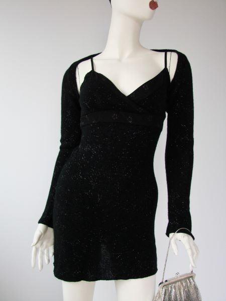 Compleu negru sclipici rochie scurta sexi bolero