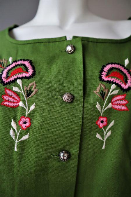 Bluza vintage stofa verde broderie flori roz