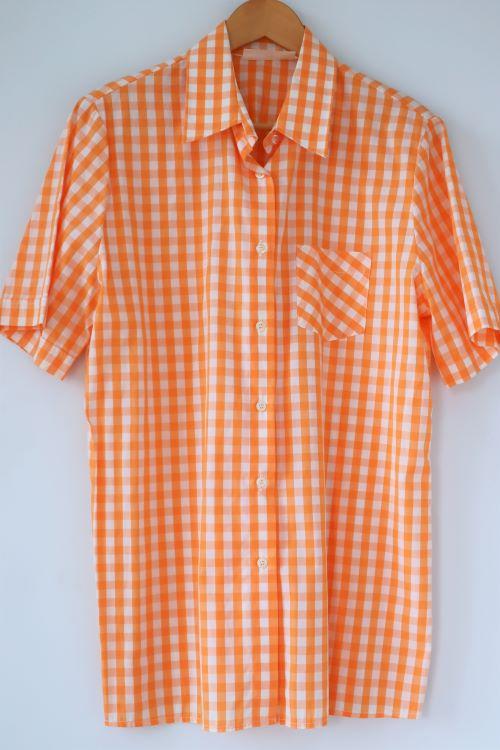 Camasa patratele bumbac alb portocaliu retro